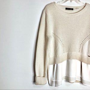 Ivanka Trump Cream And White Knot Sweater Large